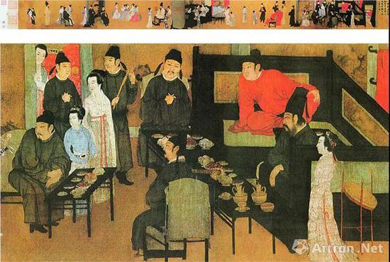 五代顾闳中《韩熙载夜宴图》 张大千旧藏  现藏北京故宫博物院