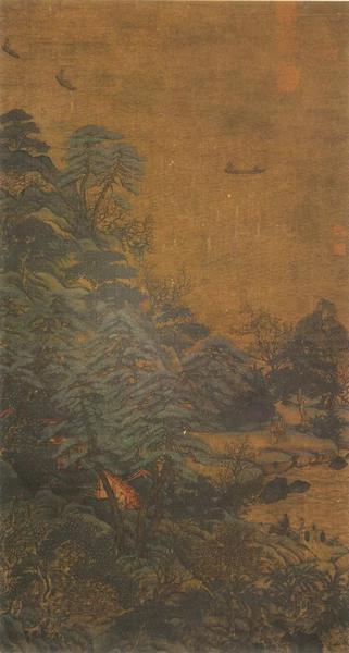 唐 李思训《江帆楼阁图》青绿绢本设色 纵101.9cm 横54.7cm 台北故宫博物院
