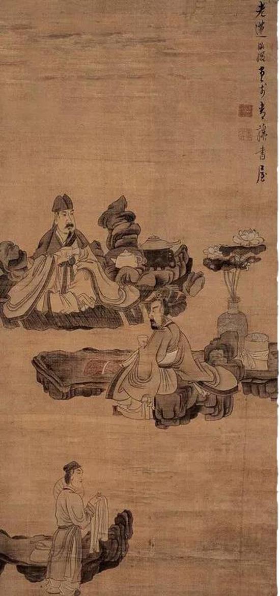 陈洪绶 《停琴品茗图》(明)