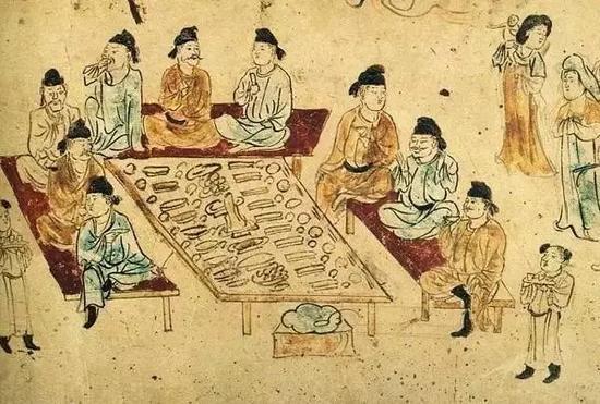 """长安南里王村唐墓壁画""""野宴图"""""""