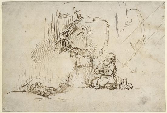 《沙漠中的夏甲与以实玛利》(Hagar and Ishmael in the desert),Willem Drost,1650年