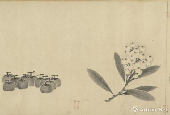 法常《写生卷》细节图台北故宫收藏