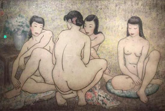 潘玉良,《浴后四美姿》,纸本墨彩,80×130厘米,1955年,私人收藏