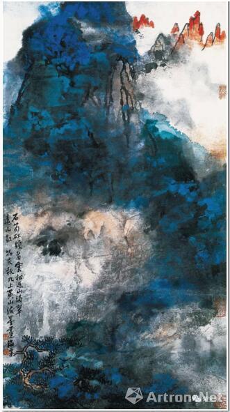 刘海粟 石笋�M头看云松 52.3cm×97.5cm 1983
