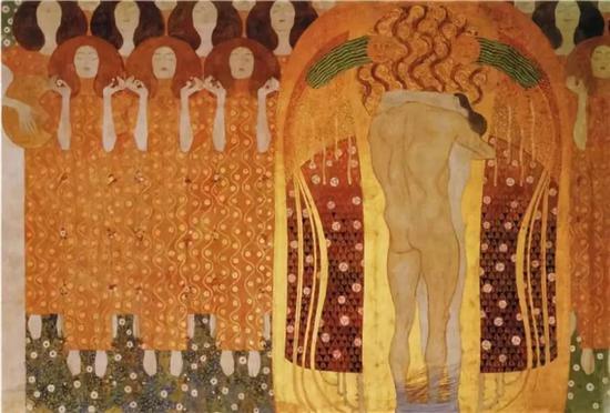 古斯塔夫·克里姆特 《贝多芬饰带》中的《天使唱诗队》