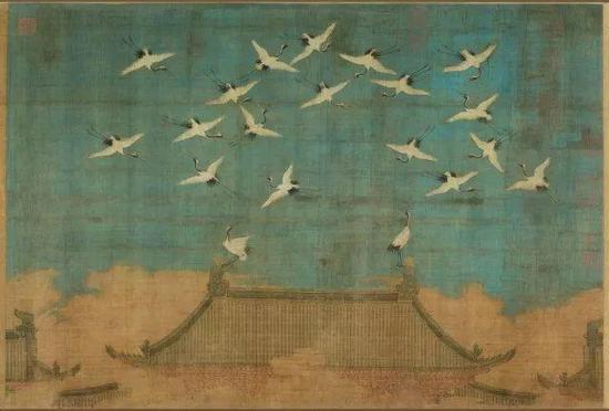 ▲ 宋徽宗 《瑞鹤图》绢本设色,纵51厘米,横138.2厘米辽宁省博物馆藏