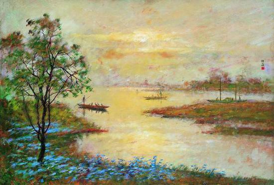 颜文樑,《鸦舟》,1982,木板油彩, 51×74cm,龙美术馆