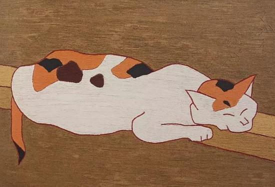 《猫》,1965-年,熊谷守一,爱知县美术馆藏