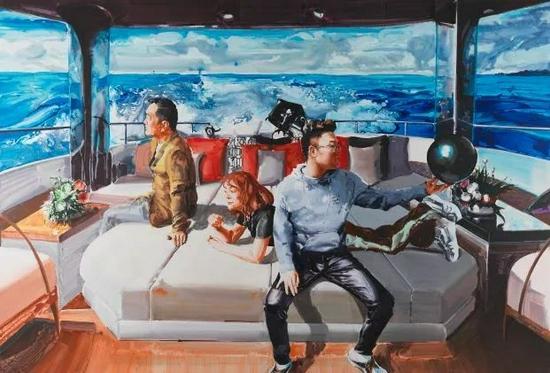 参展作品:《带着爸爸去旅行》 200×300CM 布面丙烯 2021(图片由王承云工作室提供)