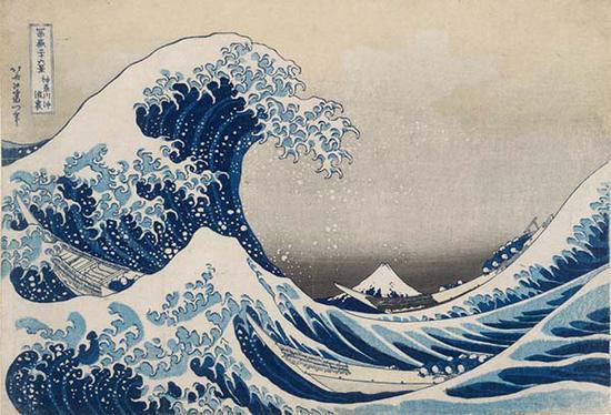 葛饰北斋,《富岳三十六景之神奈川冲浪里》木版画,1831年