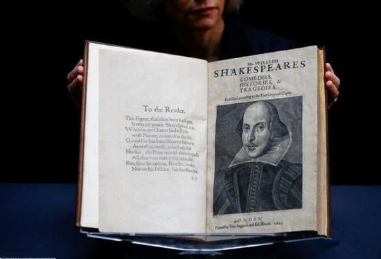 莎士比亚近400年前珍贵合集《第一对开本》将拍卖 估值数千万
