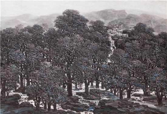 《远方的村庄》油画