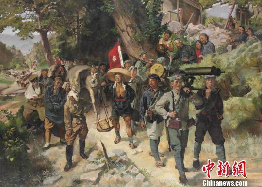 表现红军反围剿胜利的油画《胜利的行列》,画家绘于1957年 国博供图