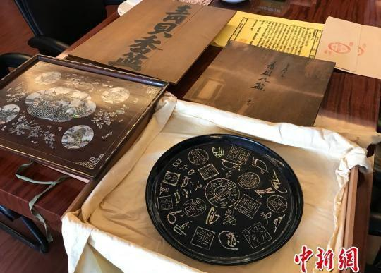 日本著名黄檗宗禅画僧内藤香林到访福清黄檗文化促进会,向宗祖隐元禅师的家乡福清捐赠一批黄檗文物。 郑松波 摄