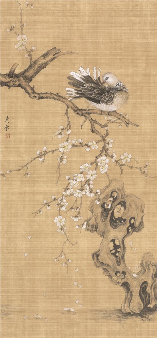 楚彦春《梳羽图》110×48cm
