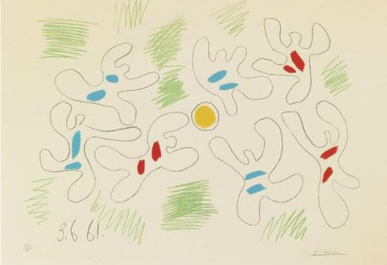 毕加索《足球》,彩色平版印刷(1961)