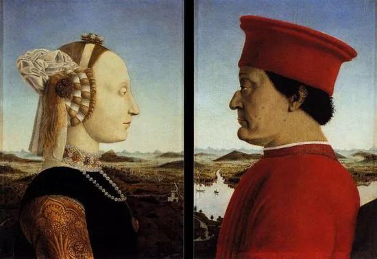 皮耶罗・德拉・弗朗切斯卡《乌尔比诺公爵夫妇肖像》1465-1472年 蛋彩画 @佛罗伦萨乌菲兹美术馆