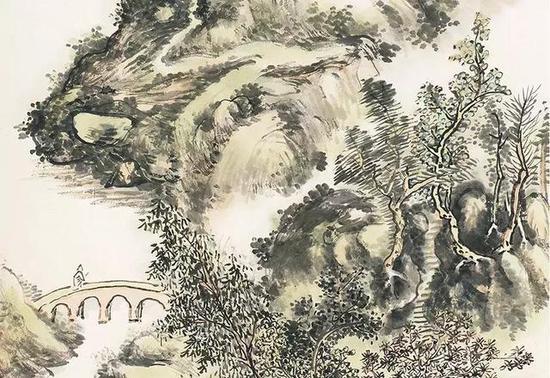 黄宾虹 《秋山策杖图、篆书七言联书画一堂》 局部