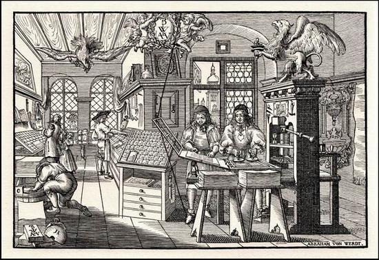 木刻版画《印刷作坊》,亚伯拉罕·冯·沃尔德,17世纪