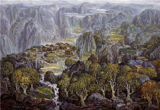 《山寨和风》油画