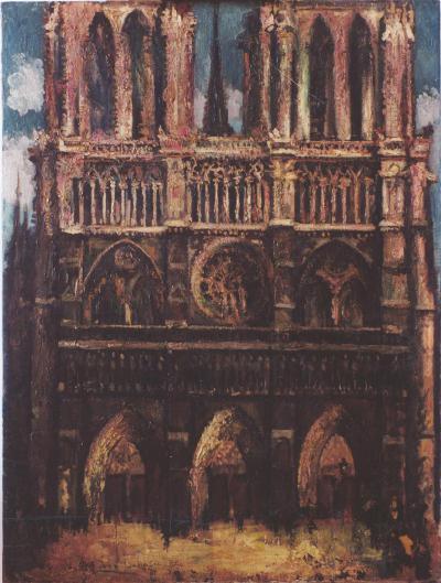 刘海粟《巴黎圣母院夕照》,1933年