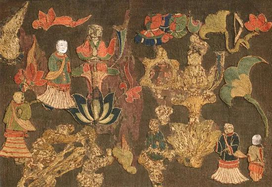 ▲奈良中宫寺藏《天寿国绣帐》 飞鸟时代(7世纪)