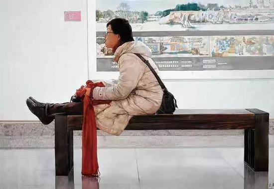 李光安 红围巾 水彩画