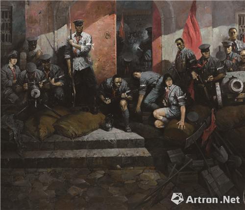 《凌晨待令起义》 油画 180cm×160cm 1987年