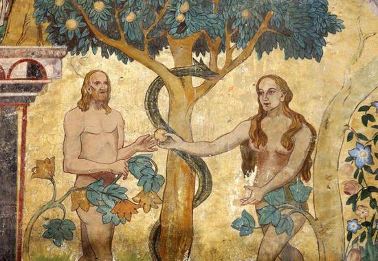 Adam and Eve in the Garden of Eden,wall painting