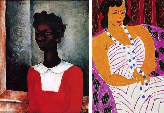 左:查尔斯·埃尔斯顿 《穿红衣的女孩》右:亨利·马蒂斯 《穿白裙的女人》
