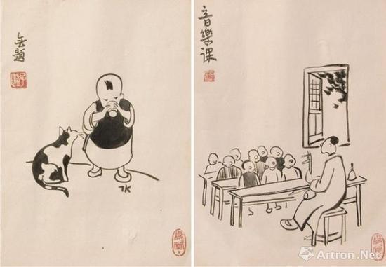 丰子恺 《村学校的音乐课》(右)