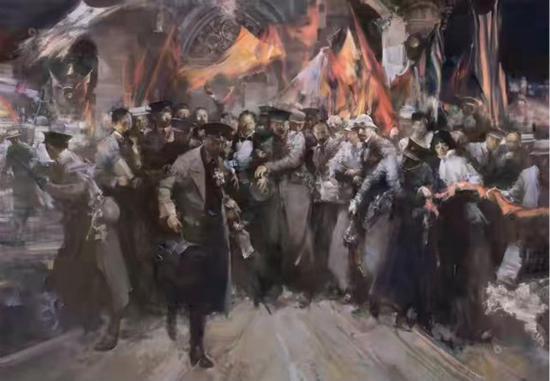 图片说明:俞晓夫,《一个共和理想的殉道者——纪念宋教仁先生》,180*260,布面油画,2012