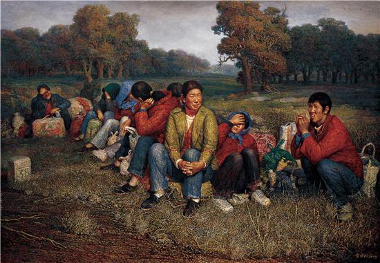 《末班车》油画