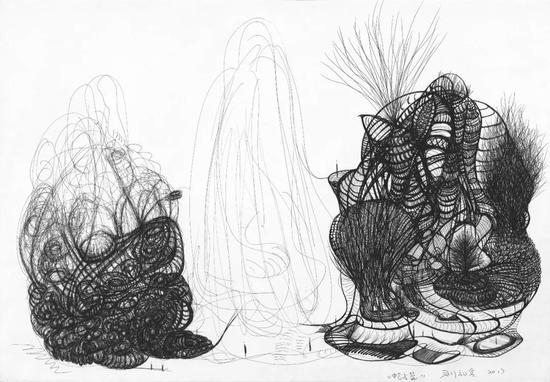 [开疆拓土]《蛇与篮》 水彩纸、中性笔 54×78.5cm 2017
