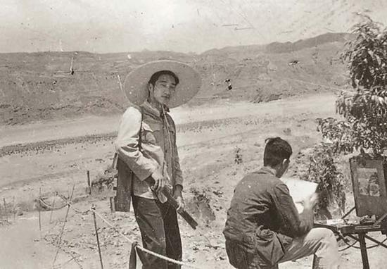 1956年,靳尚谊在黄河三峡写生