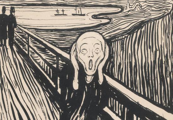 爱德华・蒙克(1863-1944),《呐喊》(局部),石版印刷,创作于1895年。