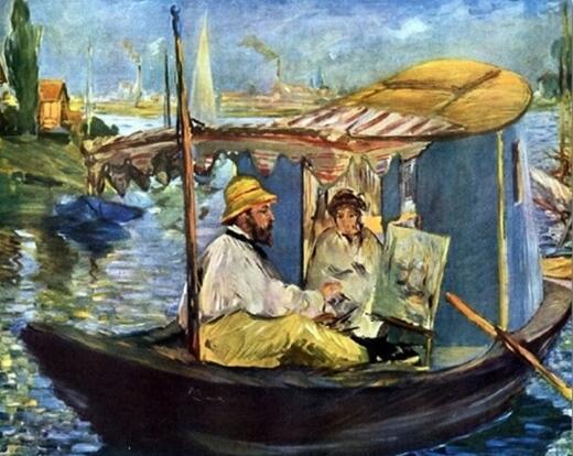 马奈 莫奈在船上画室作画