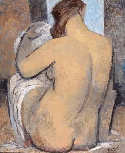 让。苏弗尔皮 背转身的浴女 布面油彩 82x65cm 1970年