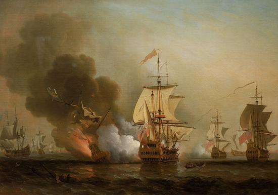 "Action of Cartagena by Samuel Scott中间是""圣荷西号""。藏于英国国家航海博物馆"