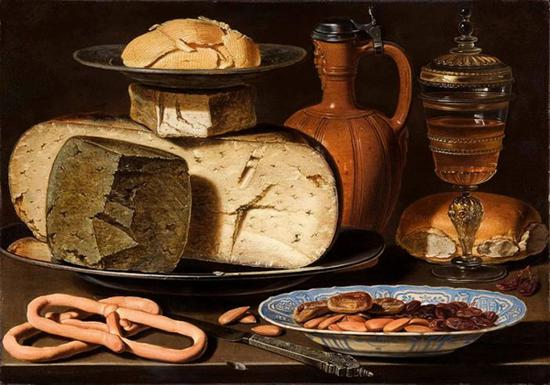 Still Life with Cheeses, Almonds and Pretzels,Clara Peeters,1615
