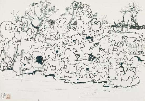 《苏州狮子林》素描 1983年作