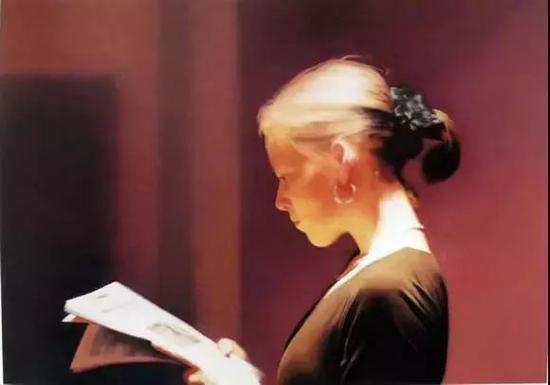 """格哈德・里希特""""照片绘画"""" 《读报女孩》1994"""