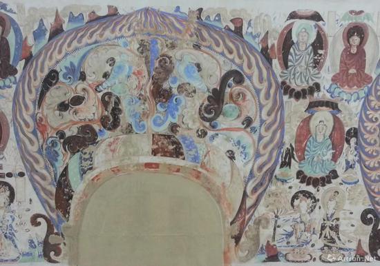 莫高窟第285窟北壁忍冬禽鸟龛楣现状临摹(局部)彭文佳