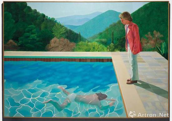 大卫·霍克尼,《艺术家肖像(泳池及两个人像)》,1972