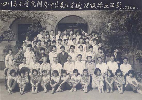 1981年,川美附中78级毕业留影