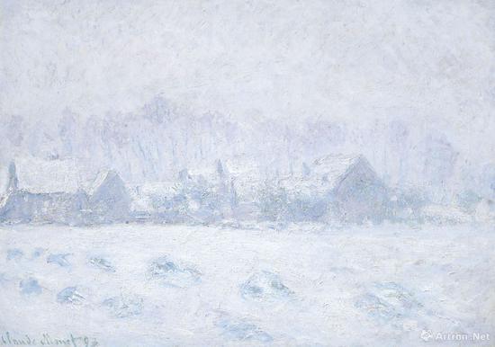 克劳德·莫奈《吉维尼的雪景》布面油画 65.4 x 92.7 cm 1893年作