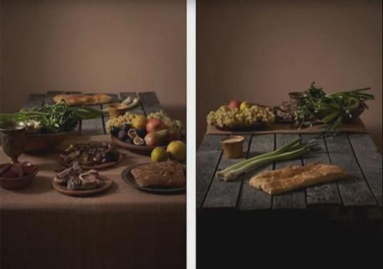 左边铺着桌布的是富人的食物,右边餐桌上的是穷人的食物