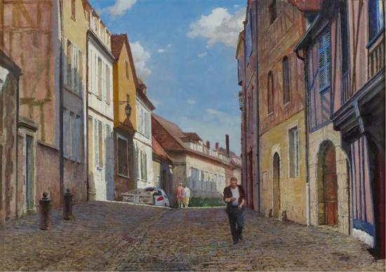 奥塞尔老街的下午 布面油画 46×65cm 2018年