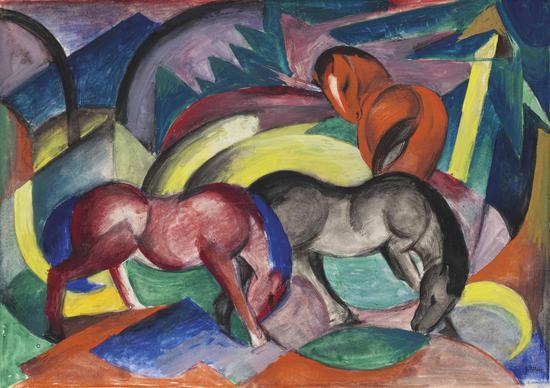 法兰兹·马尔克(Franz Marc)《三匹马》水粉 卡纸 33.5 x 47.5 cm。 1912年作
