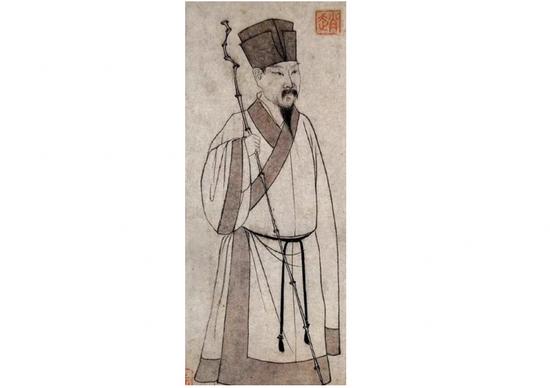 """赵孟頫《东坡立像》(台北""""故宫博物院""""藏)。"""